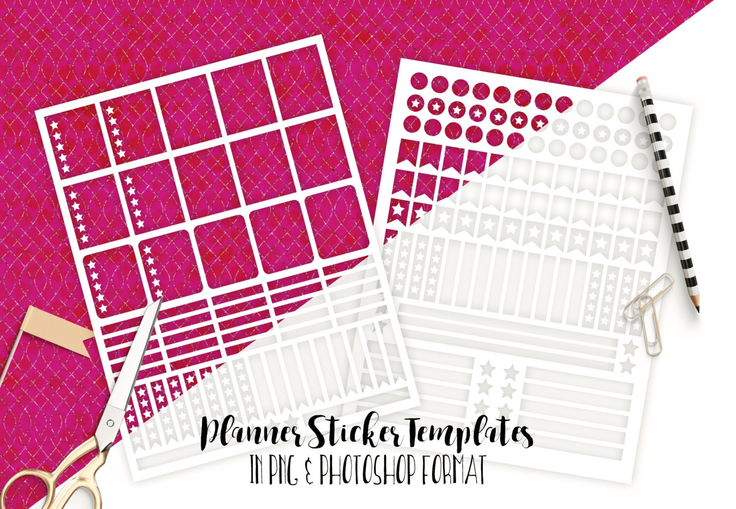 PLANNER STICKER TEMPLATES Commercial Use Blank Diy Sticker ... for Planner Stickers Template  568zmd
