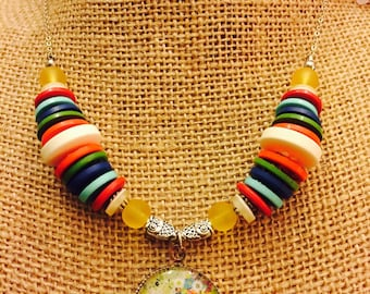 Multi colored button tree pendant necklace on sterling silver chain