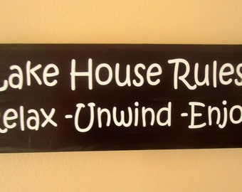 Lake House rules wood sign, Lake house decor sign, Gifts for the lake,  Nautical sign,