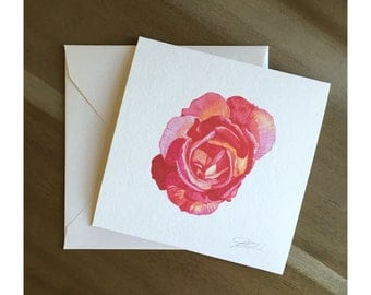 Audra Pink - Watercolor Rose Fine Art Note Card