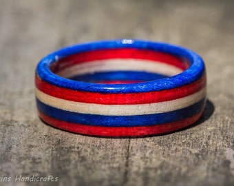 Americana Wood Ring - Red White Blue SpectraPly Patriotic American Flag USA July 4th Memorial Veterans Day Theme Wooden Band Celebration
