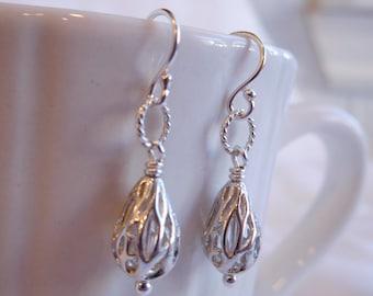Sterling Silver Fancy Drop Handmade Earrings