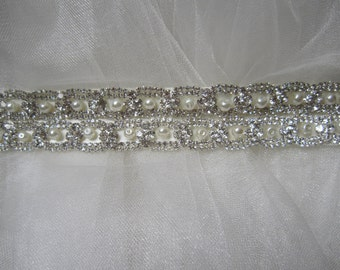 Rhinestones Pearl Wedding Belt Sash, Bridal sash