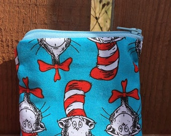 Handmade cat in the hat coin purse
