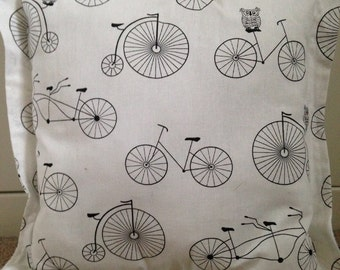Owl and bicycle handmade scatter cushion