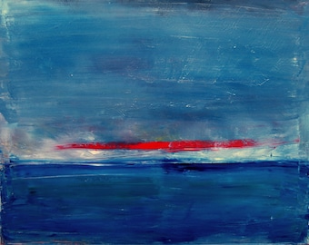 Untitled - Original Painting - Abstract seascape with red