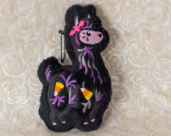 Plush Llama Halloween Embroidered Ornament / Keychain with Candy Corns and Bat