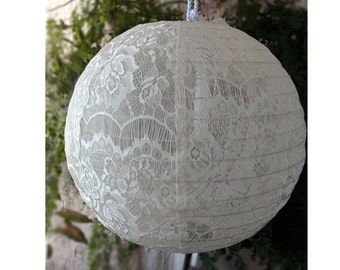 "12"" Ivory Lace Lantern Elegant Wedding Decor Bridal Shower Engagement Party Anniversaries Birthday"