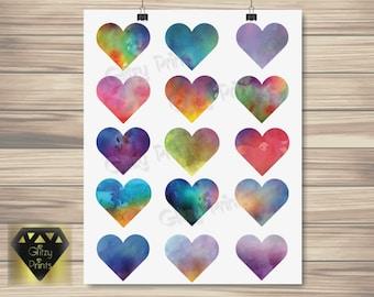 Watercolour Heart Print , Watercolor Print, Nursery Print, Girl's Room Decor, Romantic Print, Colourful Print A4/8x10 or A3 Print