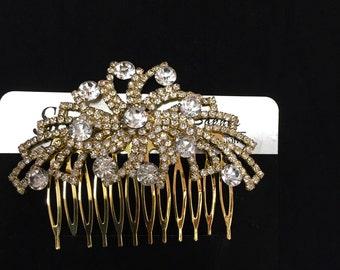 Gold rhinestone hair comb