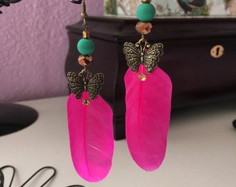 Hot Pink Feathers with Butterflies
