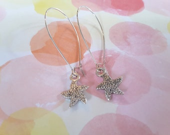 Textured Starfish Drops . Long Kidney Wires . Earrings