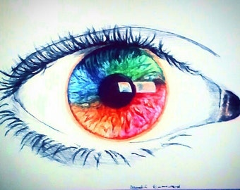Pen Colourful Eye Drawing