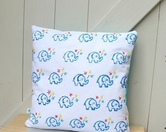 Elephants & Flowers Handprinted Cushion Cover