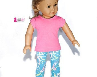 American made Girl Doll Clothes, 18 inch Girl Doll Clothing, Neon Pink Top, Spattered Capris made to fit like American girl doll clothes