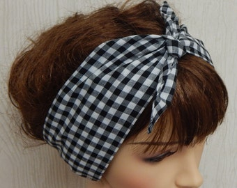 Black and white gingham hair scarf, gingham retro vintage style scarf, rockabilly scarf, 50's scarf hair wrap, gingham headband