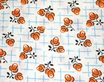 """Windham 30s Print Calico Floral Fat Quarter 100% Cotton Fabric 18"""" x 22"""" - Orange # 37"""