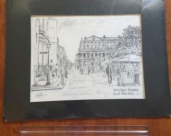 New Orleans Jackson Square Pencil Graphite Art