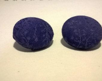 Purple Vine Fabric Button Stud Earring