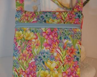 Cross body purse floral quilted shoulder bag light weight zipper exterior pocket pink blue green yellow