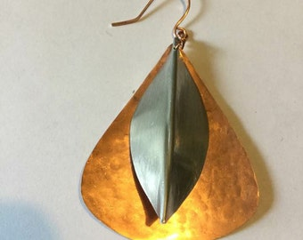 Copper Aluminum Layered Kiss Earrings