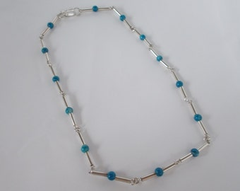 Turquoise and .925 Sterling Silver 14 1/4 inch Necklace