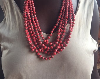 Red Multi-strand Paper Bead Necklace