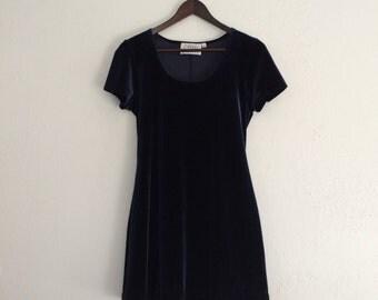 Women's Deep Blue Velvet Dress
