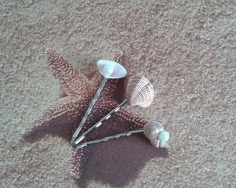 Set of 3 Seashell Hair Pins