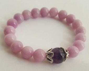 beaded bracelet, purple jade bracelet, jade bracelet, bracelet