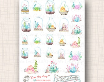 Cozy Succulents Planner Stickers | 24 Stickers Total | #SD09