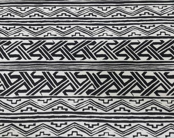 Black and Off White Tribal Print Knit Cotton Jersey