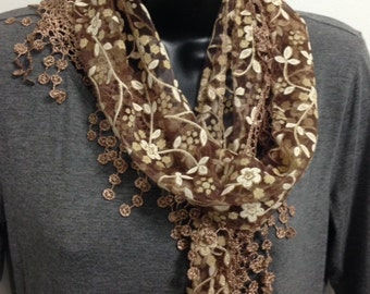 Light Brown/Bronze Lace Scarf with Fringe Shawl Scarf Long Scarf Women Fashion Accessories Gift for Her