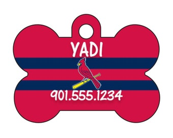 St Louis Cardinals Pet Id Tag for Dogs and Cats Personalized w/ Your Pet's Name and Number
