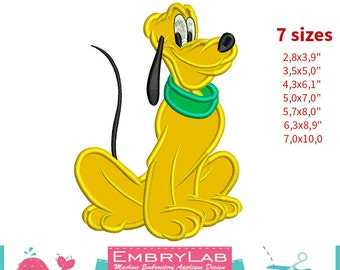 Applique Pluto Dog. Mickey Mouse and Friends. Machine Embroidery Applique Design. Instant Digital Download (16258)