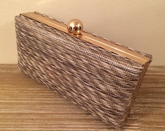 Beige and brown woven clutch bag