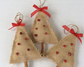 Set of 3 rustic burlap Christmas tree shaped ornaments, burlap ornaments, holiday ornaments