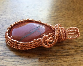 Wire Wrapped Red Jasper Cabochon Pendant