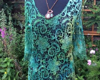 Lace/ Hippy/Festival/Crochet/Tie Dye/Fairy/Hand dyed/,Short sleeve/  Green/rust/teal/      Lace /Crochet/  top/