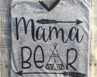 Mama Bear urban arrow teepee shirt baseball style 3/4 sleeve custom mom gift tshirt woodland mothers day gift