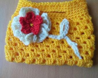 Orange crocheted handbag