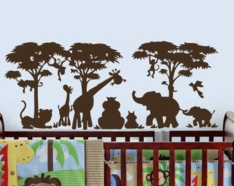 Safari Wall Decal Vinyl Stickers Decals Home Decor Animal Wall Vinyl Decal  African Safari Kids Children