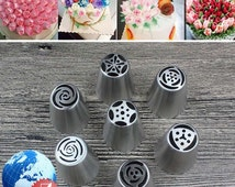 7pcs Russian Tulip Rose Stainless Steel Icing Piping Nozzle Tips Baking Tool Set