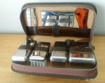 Sale Vintage Mens Leather Grooming Travel Kit/Austrian Made