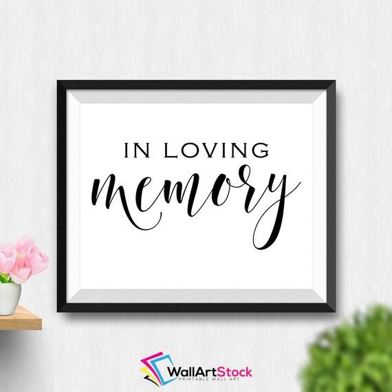 Printable in loving memory wall art memorial sign for In loving memory free printable
