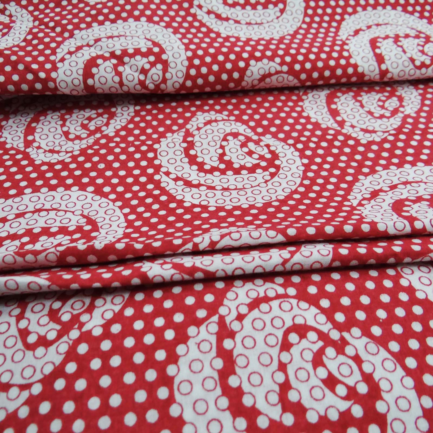 Dress making designer abstract printed with red color for Cotton sewing material