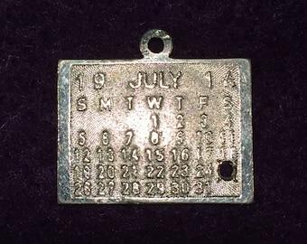 "Sterling July 25, 1914 Calendar - 3/4"" X 9/16"" Charm -  CA 1960's - Item# CH394"