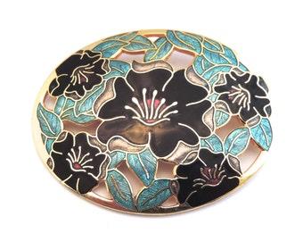 Cloisonne Flower Brooch, Floral / Flower, Light Blue, Navy, Lilly / Orchids, Enamel Pin