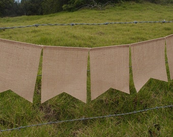 "Burlap Banner with 5 Flags, 15"" long, Swallowtail Pennants"