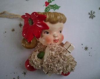 Beautiful Christmas Wall Pocket Girl with Poinsettia in Hair Wall Pocket  - Wall Pocket - Vintage Christmas - Christmas Decor ###ON SALE###